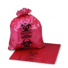 Infectious Waste Bag, 10 Gallon, 24 x 24 Inch, Red