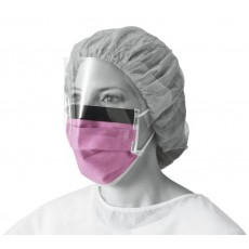 Fluid-Resistant Surgical Face Mask with Eyeshield and Earloops