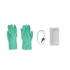 Suction Catheter Mini Tray with Gloves - 14 Fr Whistle Tip